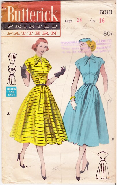 1950's Butterick 6018 front