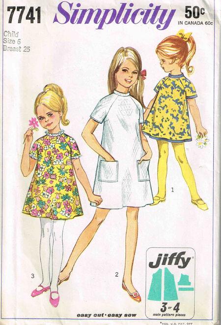 C1968 7741 Simplicity Girls Dress Szie 6