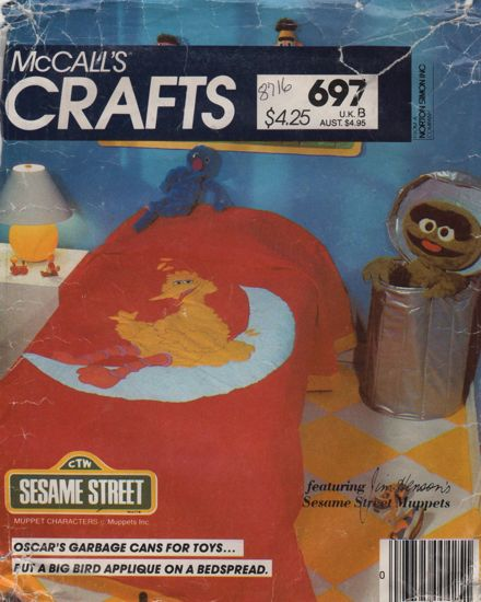 McCalls 8716 697 Sesame Street Oscars Garbage Can and Big Bird Applique