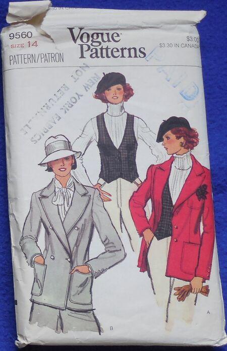 Vogue 9560 Size 14 Jacket Vest