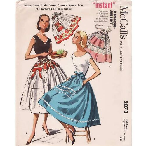 Vintage 1950's Sewing Pattern Wrap Skirt Apron