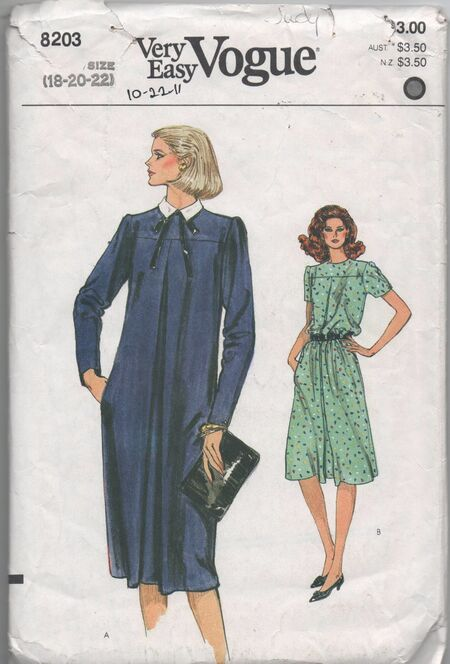Image (1970s vintage UNCUT pattern Very Easy Vogue 8203 size 18 20 22 bust 40 42 44 waist 32-36 hips 42-46 Misses dress)