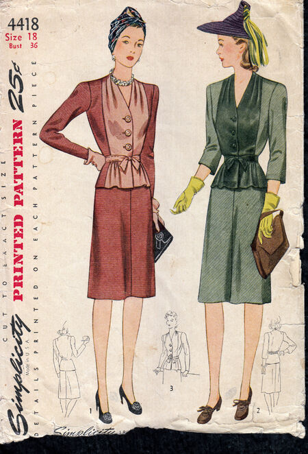 Penelope Rose vintage sewing pattern 1940s Two Piece Suit