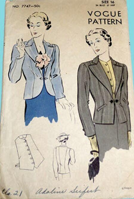 Vogue 7747 Vintage 1930s blazer pattern image