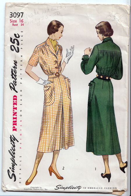 Vintage 1940s dress pattern from Penelope Rose