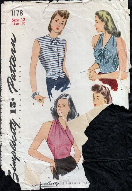 Vintage 1940s Blouse pattern from Penelope Rose at Artfire