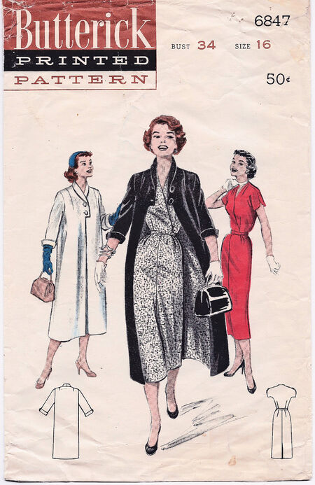 1954 Butterick Dress and Coat cropped