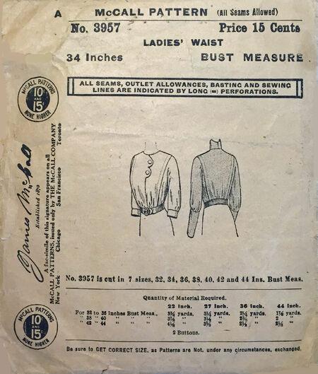 McCall 1911 3957 shirtwaistb