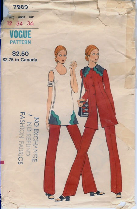 7989V 1970s Jacket Tunic Pants