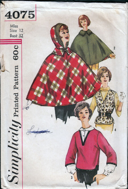 Vintage 1960s poncho and vest pattern from Penelope Rose