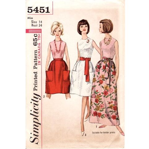 File:1960's Sleeveless Blouse Patch Pocket Maxi Skirt Vintage Sewing Pattern