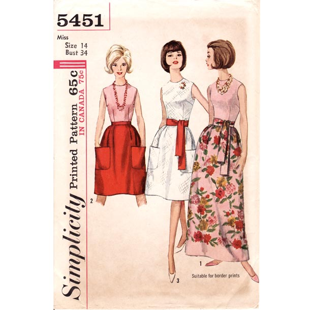 1960's Sleeveless Blouse Patch Pocket Maxi Skirt Vintage Sewing Pattern