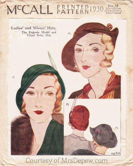 McCall 1930 Hat Pattern