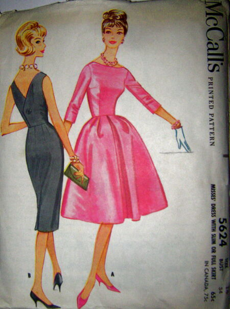 1960 Vintage Uncut Pattern- Wiggle Dress or Full-Skirt, McCalls 5624 image