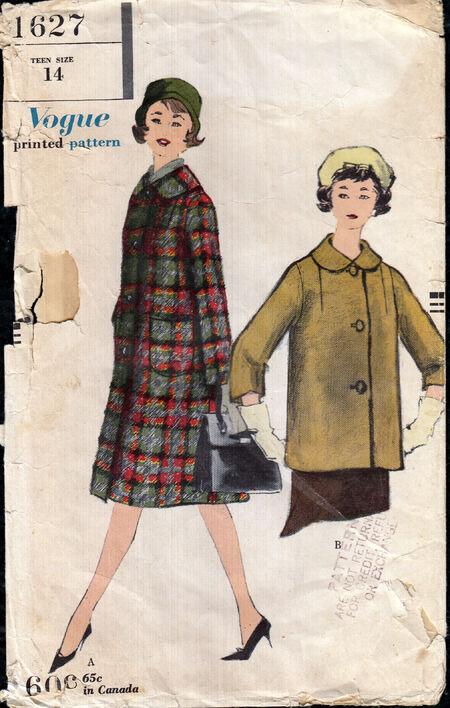 Penelope Rose vintage sewing pattern 1950's vogue coat