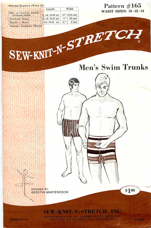 Sew-Knit-N-Stretch 95 at Design Rewind fashions on Etsy Mens Swimming Trunks pattern