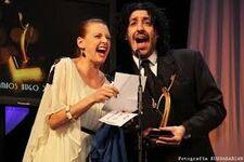 Pablo accepting an award
