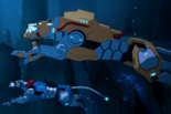 Blue Lion and Yellow Lion Under the Water