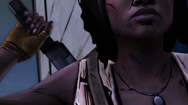 File:TWDM Michonne Draws Machete.png