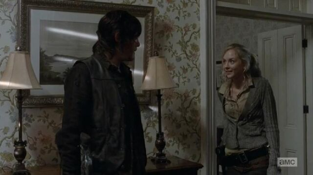 File:Beth and Daryl about a dog outside.JPG