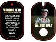 The Walking Dead - Dog Tag (Season 2) - Jeffrey DeMunn CR9 (AUTHENTIC WORN COSTUME PIECE)
