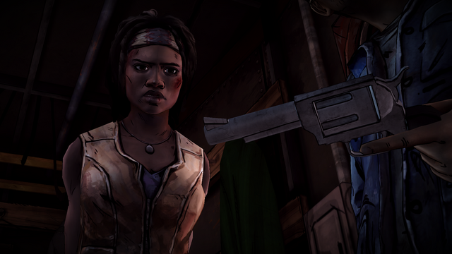 File:ITD Michonne Looks at Revolver.png