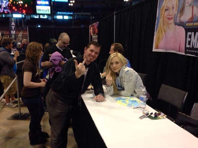 File:Emily and a lucky guy fan giving f you photo.jpg