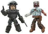 Walking Dead Minimates Series 3 Riot Gear Rick & Guard Zombie 2-pk