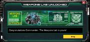WeaponsLab-UnlockMessage