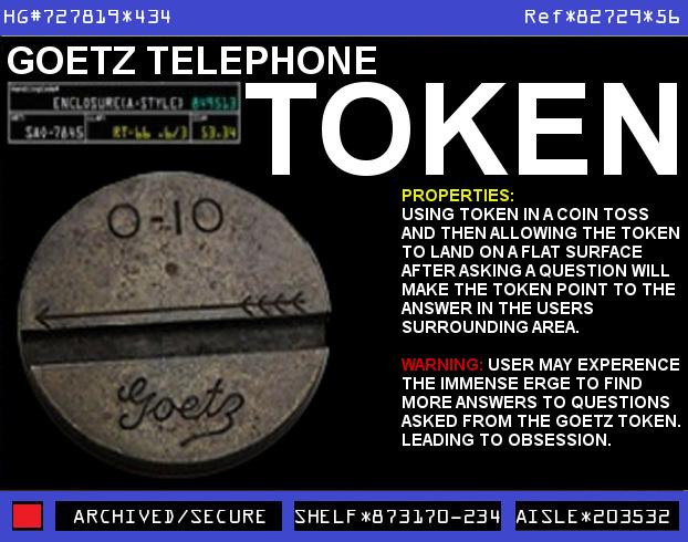 Goetz Open Feather 0 10 Telephone Token Warehouse 13
