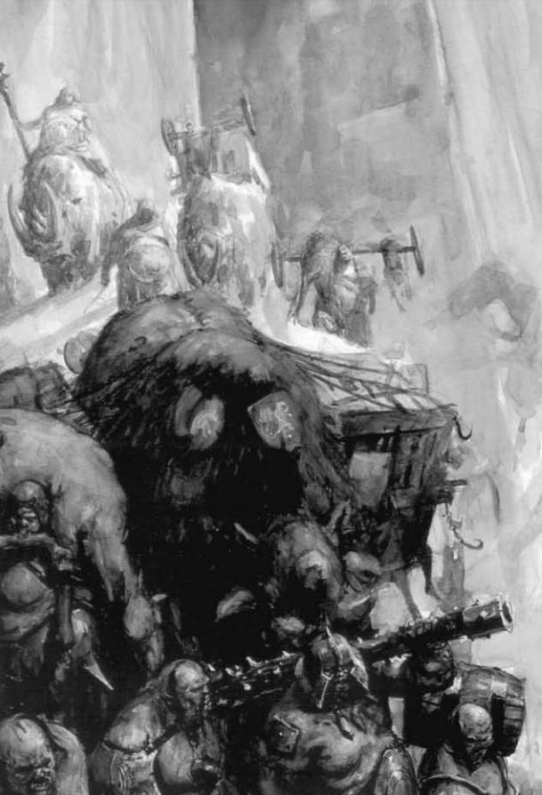 Ogre Caravan Guards 6th Edition Black&White Illustration