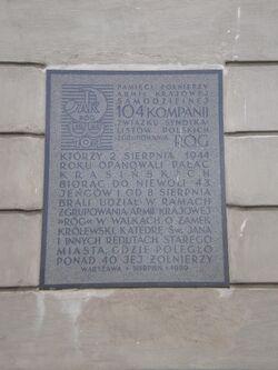 Pałac Krasińskich (tablica, powstanie, Róg).JPG