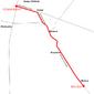 Trasa linii 104 w latach 1948-1950 i 1952-1973