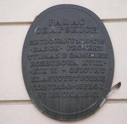 Pałac Czapskich (stara tablica).JPG