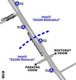 Schemat rozmieszczenia przystanków w zespołach SGGW-Rektorat i SGGW-Biblioteka