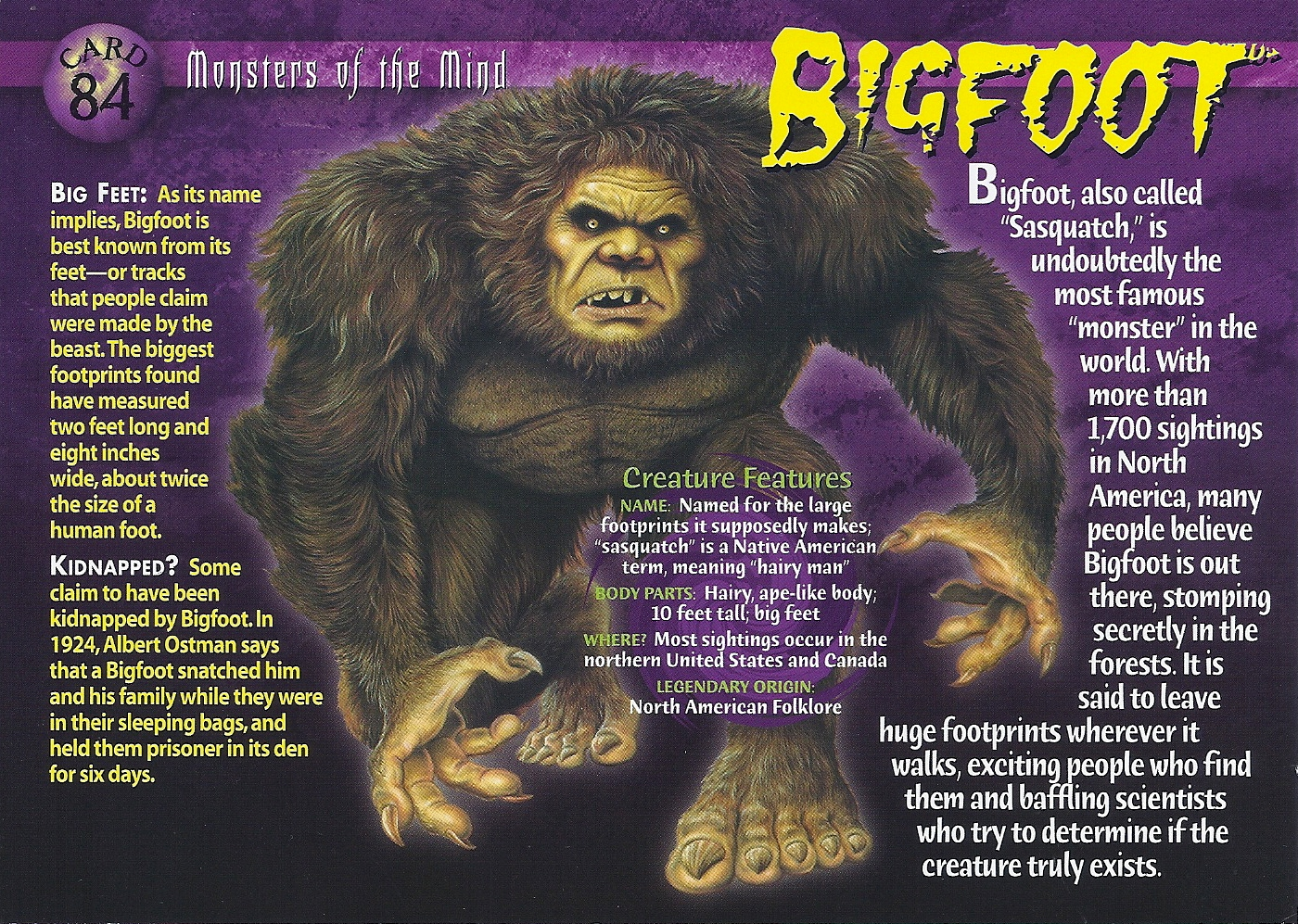 an analysis of the monsters and the myth of the bigfoot A lot of people say that you can't ask for bigfoot bones after all nobody ever finds bear bones or other large predator bones is that true my research.