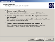 Windows Server 2003 New Connection Wizard