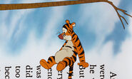 Tigger is sitting on the sideway typed words