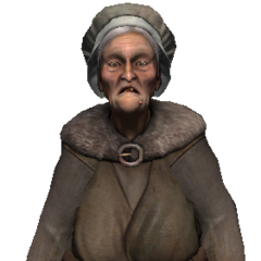 Old townswoman who wants pork.