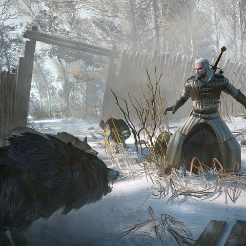 Promo screenshot of Geralt against some wolves