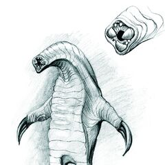 A concept art drawing of the bloedzuiger — the detail depicts its tooth-filled gullet