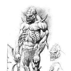 As yet uncoloured the sketch provides merely a general idea of the monster's appearance