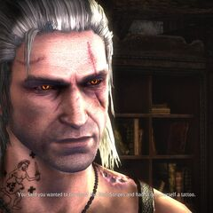 Geralt with his new tattoo