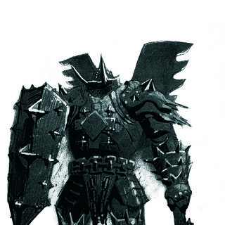 A mutated knight clad in armour that no human could wear.