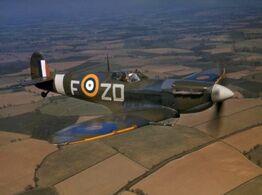Spitfire VB 222 Sqn RAF in flight 1942