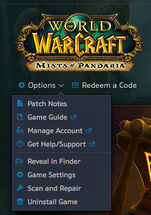 Battle.net app-Beta-WoW-Options menu