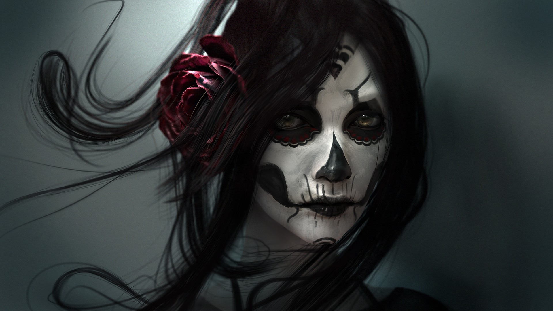 Girl Skull Face Skull Face Paint Girl