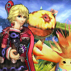 Shulk and Riki on the 3DS version of Gaur Plain.
