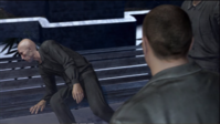 Saejima hits Kugihara leaning against the bench