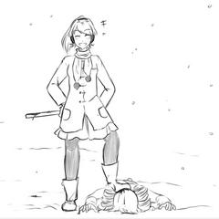 Yandere-chan standing on top on Kokona.